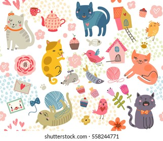 Cute seamless pattern with cats and birds.