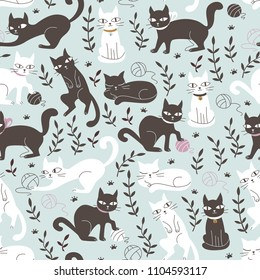 Cute Seamless Pattern with Cats in Doodle Style. Hand Drawn Vector Illustration.