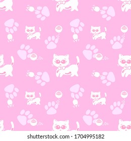 Cute seamless pattern with cats, mouse in doodle style for children. Hand drawn vector illustration. Isolated background repeat wallpaper cartoon.