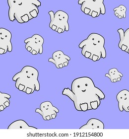 Cute seamless pattern with character Adipose from Doctor Who Series.