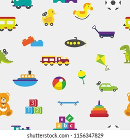Cute Seamless Pattern with children and kids toys theme