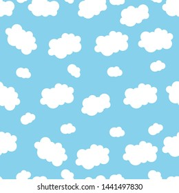 Cute seamless pattern children theme cloud on blue background. Vector illustration for kid. Pattern suitable for posters, postcards, fabric or wrapping paper.