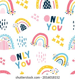 cute seamless pattern with children's rainbows, lettering, rain. Stylized children's drawing. Design for scrapbooking, fabrics for children's clothing and bedding. Vector illustration, hand-drawn