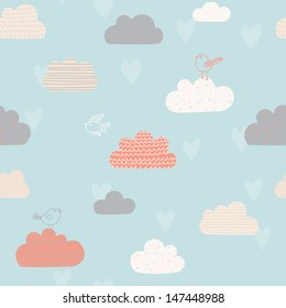 Cute seamless pattern with clouds, hearts and birds. Design for kids. Vector illustration