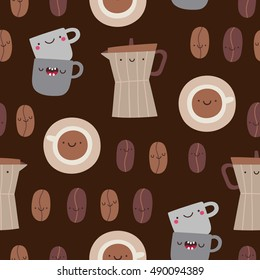 Cute seamless pattern with Coffee beans, pots and cups. Cute Coffee texture in cartoon style.