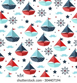 Cute seamless pattern with color paper boats. Vector illustration