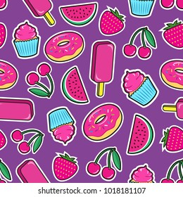 Cute seamless pattern with colorful patches. Stickers of ice cream, cherry, strawberry, watermelon, donut, cupcake etc on violet background. Fashion cool patches and stickers. Vector illustration.