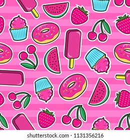 Cute seamless pattern with colorful patches. Stickers of ice cream, cherry, strawberry, watermelon, donut, cupcake etc on pink background. Fashion cool patches and stickers. Vector illustration.