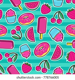 Cute seamless pattern with colorful patches. Stickers of ice cream, cherry, strawberry, watermelon, donut, cupcake etc on green background. Fashion cool patches and stickers. Vector illustration.