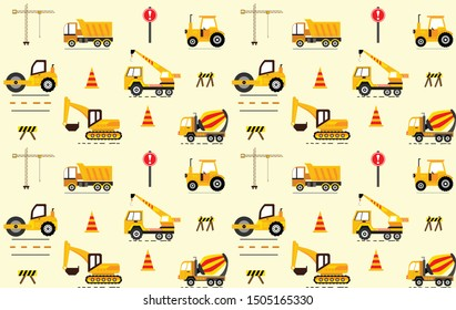 Cute seamless pattern with construction machinery. Perfect for kids fabric,textile,nursery wallpaper. Colourful vector children background texture