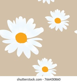 Cute seamless pattern with daisy flowers on golden background. Vector summer design.