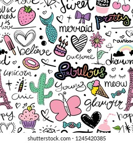 Cute seamless pattern design / Unicorn, butterfly, mermaid, rainbow, hearts and hand letterings doodle art for fabrics, textile graphic, t shirts, prints, posters, wallpapers etc