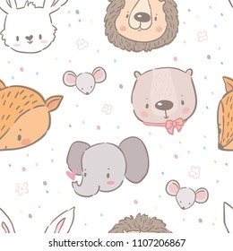 Cute seamless pattern with different baby animals