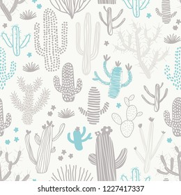 Cute seamless pattern with different cacti. Perfect for fabric, textile. Vector background.