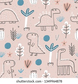 Cute seamless pattern with cute dinosaurus. Creative vector childish background for fabric, textile, nursery wallpaper. Vector Illustration.