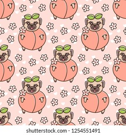 Cute seamless pattern with dog breed pug in peach, with flowers and heart on a pink background. It can be used for packaging, wrapping paper, textile and etc.