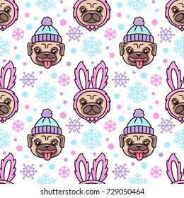 Cute seamless pattern with dog breed pug in hat and dog in a rabbit costume. With snowflakes for Merry Christmas. It can be used for packaging, wrapping paper, textile and etc.