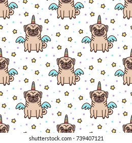 Cute seamless pattern with dog of pug breed in a unicorn costume with wings and rainbow horn. It can be used for packaging, wrapping paper, textile and etc.