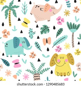 Cute seamless pattern of doodle elephants with palm trees, flowers and butterflies on white background. Kids illustration in a vector.
