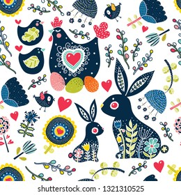 Cute seamless pattern for Easter holiday. Rabbits,birds, hen and  chickens, willow and flowers. Can be used for wallpaper, pattern fills, web page background,textile, postcards.