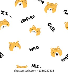 Cute seamless pattern with the faces of a leopard with different characters and various words. Vector  illustration in scandinavian style, great for children's clothes,  fabric, textile, wallpapers, n