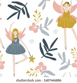Cute seamless pattern with fairies. Fabric design for girls. Vector kids illustration