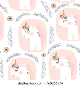 Cute seamless pattern with fairy unicorns . Childish texture for fabric, textile. Scandinavian style. Vector Illustration
