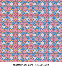Cute seamless pattern for fashion prints. Printing with small flowers. Ditsy style. Vintage vector floral background in blue, yellow and pink colors.