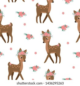 Cute seamless pattern with a fawn in a floral wreath. Vector childish illustration isolated on white background. Printing on clothing, fabrics, textiles, wallpaper, paper. Deer, pink, red flowers.