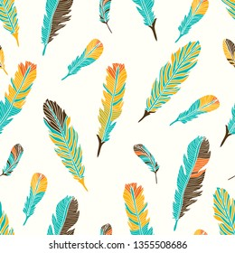 Cute seamless pattern with feather. Seamless pattern can be used for wallpaper, pattern fills, web page background, surface textures.