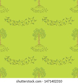 Cute seamless pattern with a ficus with green leaves and roots, lettering. Green background. Hand drawn style illustration. Vector.
