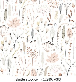 Cute seamless pattern with flowers, branch, leaves. Vintage background. Creative childish texture for fabric, wrapping, textile, wallpaper, apparel. Vector illustration.