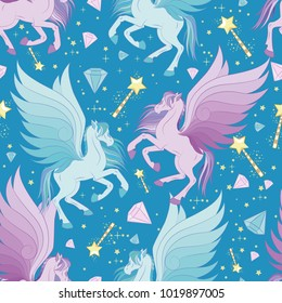 Cute seamless pattern with flying pegasus, vector illustration
