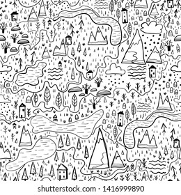Cute seamless pattern with forest and mountains, village map. Europe nature landscape concept. Vector Doodle in the Scandinavian style hand-drawn illustration for kids fabric, nursery textile