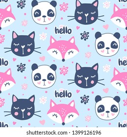 Cute seamless pattern with fox, panda, cat. Vector cartoon animals background. Ideal for fabric, wallpaper, wrapping paper, textile, bedding, t-shirt print
