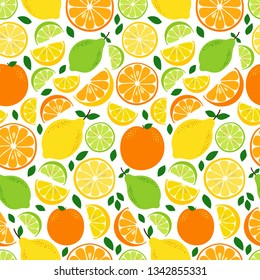 Cute Seamless Pattern with Fresh Lemonade ingredients Citrus Fruits Lemon, Lime and Orange in vivid tasty colors