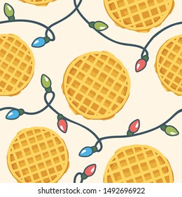 cute seamless pattern with friendship concept and illustration of waffle with lights garland. childrens vector illustration
