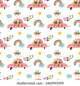 Cute seamless pattern with funny cartoon bugs in the car with the inscription Party and B z z z. Vector illustration for kids print, fabric design. Nursery decoration