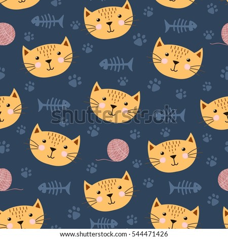 c57c20c9c0a Cute seamless pattern with funny cat. Great for baby shower and kids  design. Vector