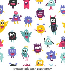Cute seamless pattern with funny creatures - colorful monsters on white. Collection of creepy spooky kids style characters, ghosts. Hand drawn cartoon aliens different forms. Textile or paper design.