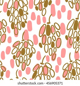 Cute seamless pattern with grapes. Vector illustration.