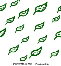 Cute Seamless pattern green foliage with swirl. Can be used for printing on packaging, bags, cups, laptop, box, etc. Pattern under the mask. Vector.