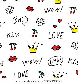 Cute seamless pattern of hand drawn doodle elements on white background.  Cherry, lips, crowns, flower, speech bubbles, words love, wow, omg, kiss. Vector illustration