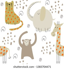 Cute seamless pattern with hand drawn animals. Exotic wallpaper for fabric, wrapping paper , etc