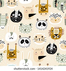 Cute seamless pattern with hand drawn animals. Vector texture in childish style great for fabric and textile, wallpapers, backgrounds. Trendy scandinavian vector background.