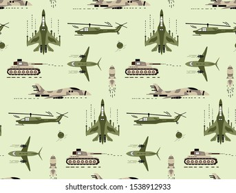 Cute seamless pattern with cute hand drawn military vehicle and army.  Creative childish vector army car and armored truck or armed machine illustration background for fabric, textile