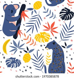 cute seamless pattern with hand drawn koala, leopards, bananas and palm leaves. summer tropical background in flat style, kids pattern for printing on fabric, clothing, wrapping paper