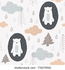 Cute seamless pattern with hand drawn bears, clouds and trees. Scandinavian style design. Vector background image for fabric, textile, scrapbook, baby shower, gift wrapping paper