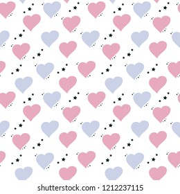Cute seamless pattern with hearts and asterisks in pastel colors, vector. Good for print on fabric, wallpaper, wrapping paper, children's room decor and more.