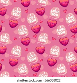 Cute seamless pattern with hearts and i love you slogan on pink background. Vector romantic texture.